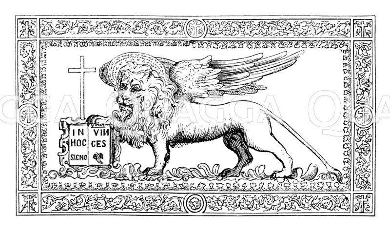 """Flagge der Republik Venedig an Bord des Staatsschiffs Bucentoro"""""""" Zeichnung/Illustration"""