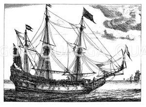 Ein holländisches Segelschiff (Straetvarder) im 17. Jahrhundert Zeichnung/Illustration