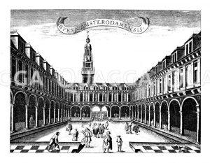 Börse von Amsterdam. Nach einem Kupferstich von J. Ottens Zeichnung/Illustration