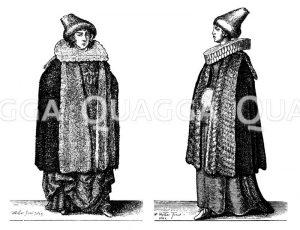Edelfrau und Kaufmannsfrau aus Prag um die Mitte des 17. Jahrhunderts. Radierungen von Wenzel Hollar Zeichnung/Illustration