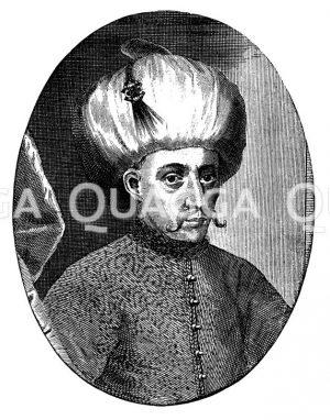 Sultan Mohammed III. Nach einem zeitgenössischen Kupferstich Zeichnung/Illustration