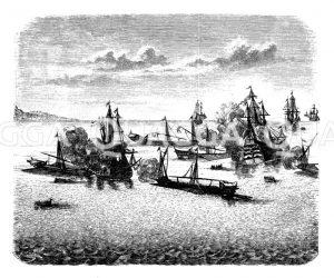 Seegefecht bei Rhodos. Nach einem zeitgenössischen Kupferstich in Merian