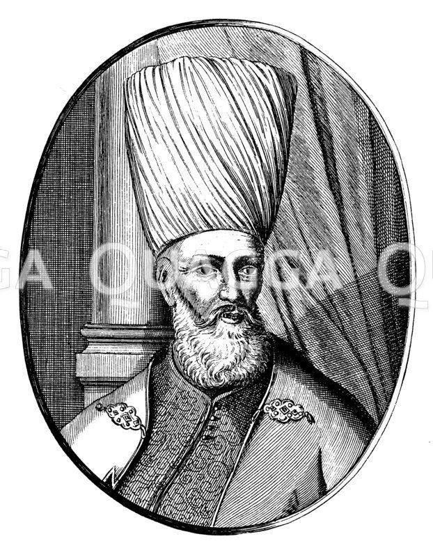 Großwesir Mohammed Köprili. Nach einem zeitgenössischen Kupferstich Zeichnung/Illustration