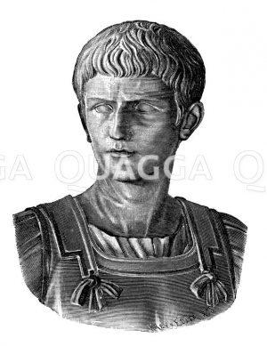 Caligula. Bronzebüste im kapitolinischen Museum Zeichnung/Illustration