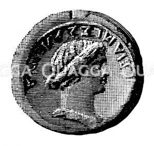 Messalina. Münzporträt. Nach Imhoof-Blumer Zeichnung/Illustration