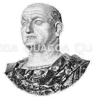 Vespasianus. Antike Marmorbüste im kapitolinischen Museum Zeichnung/Illustration