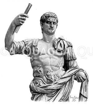 Domitian. Antike Marmorstatue im vatikanischen Museum Zeichnung/Illustration