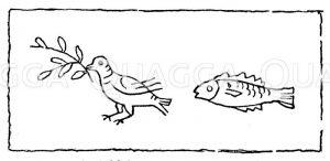 Taube und Fisch als christliche Symbole. Aus der ältesten Abteilung von S. Priscilla bei Rom Zeichnung/Illustration