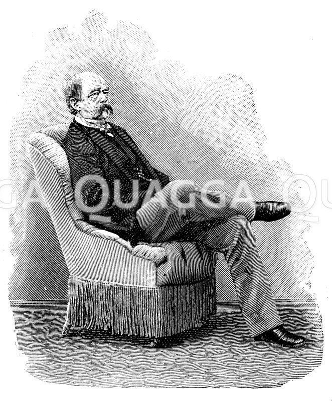Otto von Bismarck in einem Sessel sitzend Zeichnung/Illustration