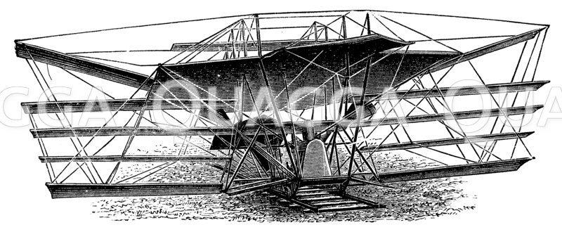 Maxims Flugmaschine (1894) Zeichnung/Illustration