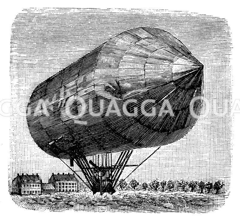 Lenkbarer Aluminiumballon von Schwarz 1897 Zeichnung/Illustration