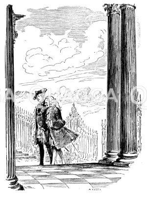 Friedrich der Große und Voltaire in Sanssouci Zeichnung/Illustration