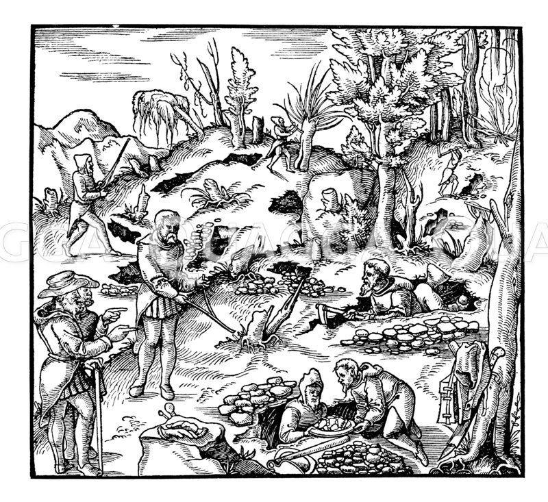 Benutzung der Wünschelrute zum Auffinden von Bodenschätzen Zeichnung/Illustration