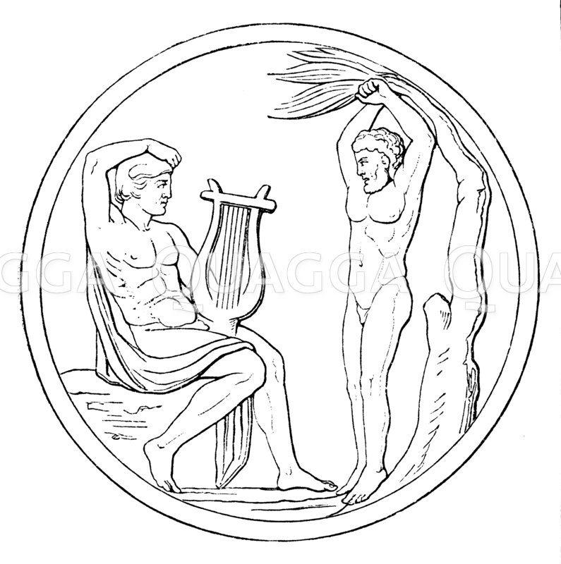 Apollon und Marsyas (Relief) Zeichnung/Illustration