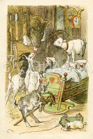 Die sieben Geißlein und der Wolf. Grimms Märchen Zeichnung/Illustration