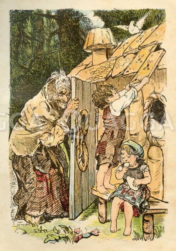 Hänsel und Gretel knuspern am Hexenhäuschen