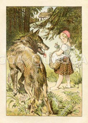 Rotkäppchen und der Wolf. Der Wolf überredet das Mädchen