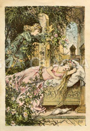 Dornröschen. Der Prinz kommt durch die Dornenhecke und findet das schlafende Mädchen. Grimms Märchen Zeichnung/Illustration