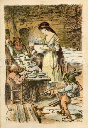 Schneewittchen und die sieben Zwerge. Das Mädchen serviert das Essen. Grimms Märchen Zeichnung/Illustration
