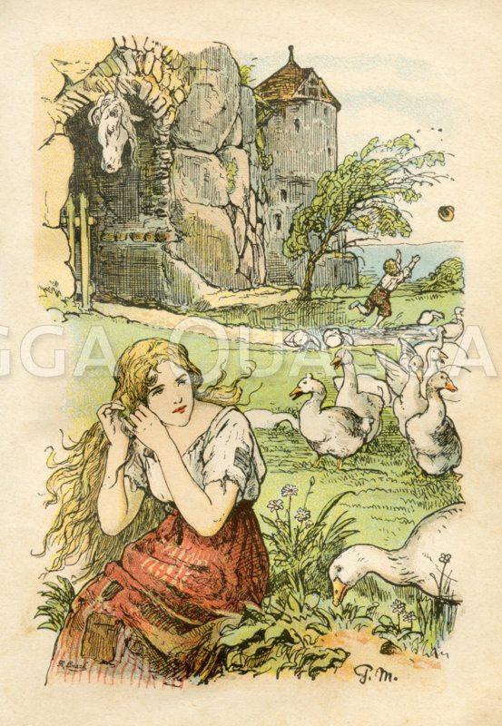 Gänsemagd. Mädchen mit Gänse und dem Kopf des Pferdes Fallada im Hintergrund. Grimms Märchen Zeichnung/Illustration
