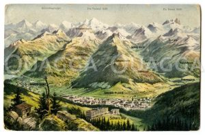 Davos mit Alpenpanorama Zeichnung/Illustration
