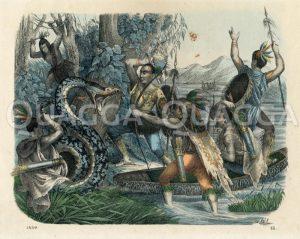 Indianer bei der Jagd auf Schlangen Zeichnung/Illustration