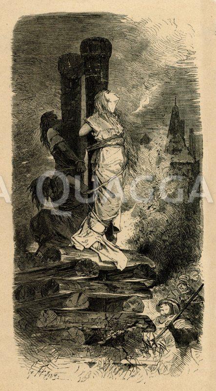 Hexenverbrennung auf dem Scheiterhaufen Zeichnung/Illustration