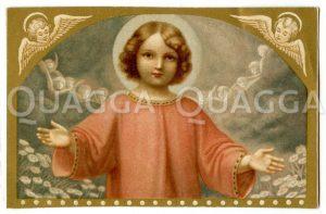 Jesus als Kind mit ausgebreiteten Armen Zeichnung/Illustration