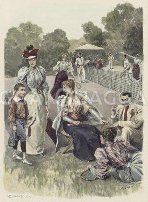 Auf dem Tennisplatz Zeichnung/Illustration
