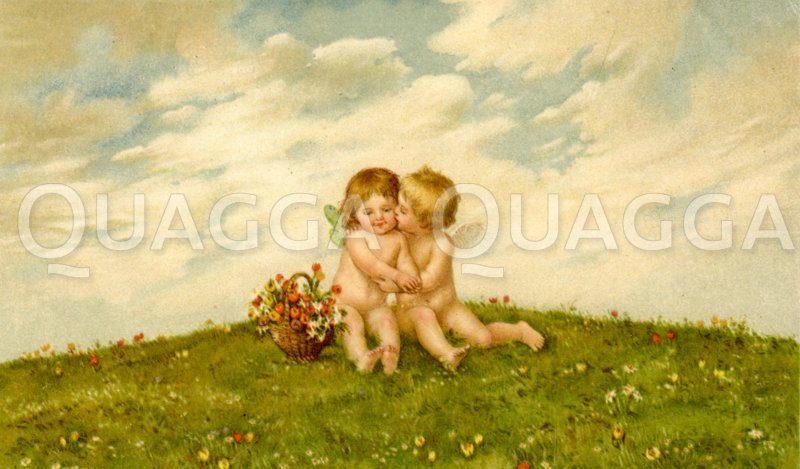 Küssende Engel auf einer Wiese Zeichnung/Illustration