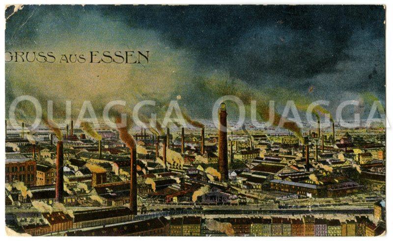 Gruß aus Essen'. Industriestadt mit rauchenden Schornsteinen Zeichnung/Illustration