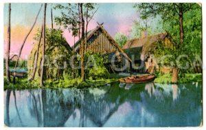 Bauernhof an einem Spreewaldfließ Zeichnung/Illustration