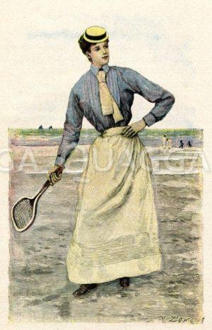 Tennisspielerin Zeichnung/Illustration