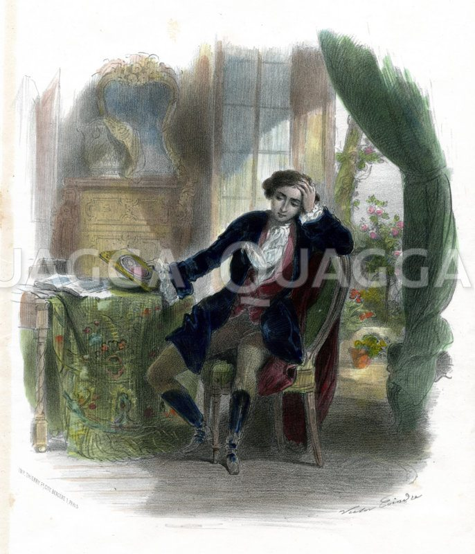 Junger Mann mit Bild seiner Liebsten Zeichnung/Illustration