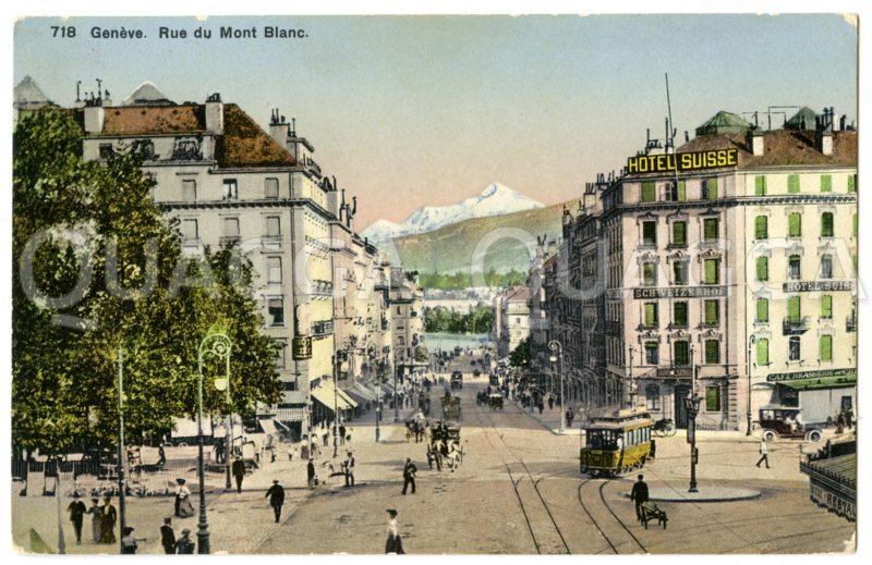 Genf: Rue du Mont Blanc mit Blick auf den Mont Blanc Zeichnung/Illustration