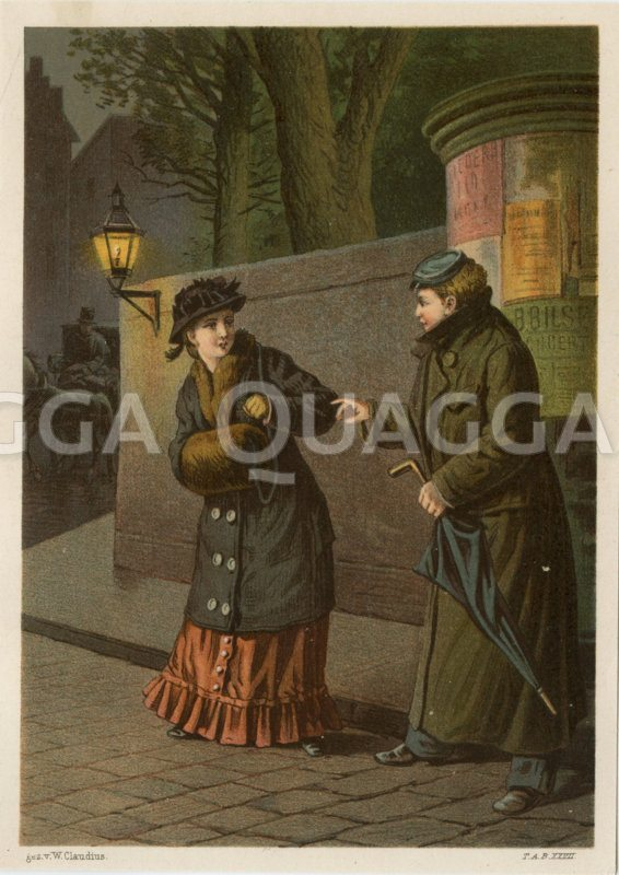 Zwei Frauen im Mantel nachts auf der Straße Zeichnung/Illustration