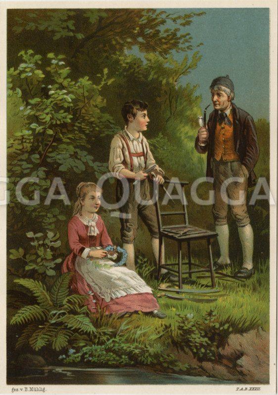 Kinder und Großvater im Garten Zeichnung/Illustration
