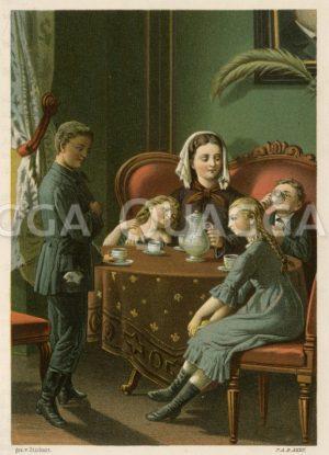 Biedermeierliche Familie am Kaffeetisch Zeichnung/Illustration