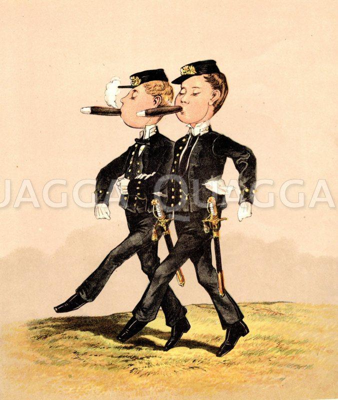 Rauchende Rekruten mit Zigarren Zeichnung/Illustration
