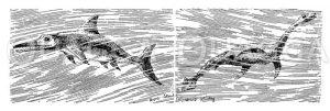 Fischechse und Schlangenechse Zeichnung/Illustration