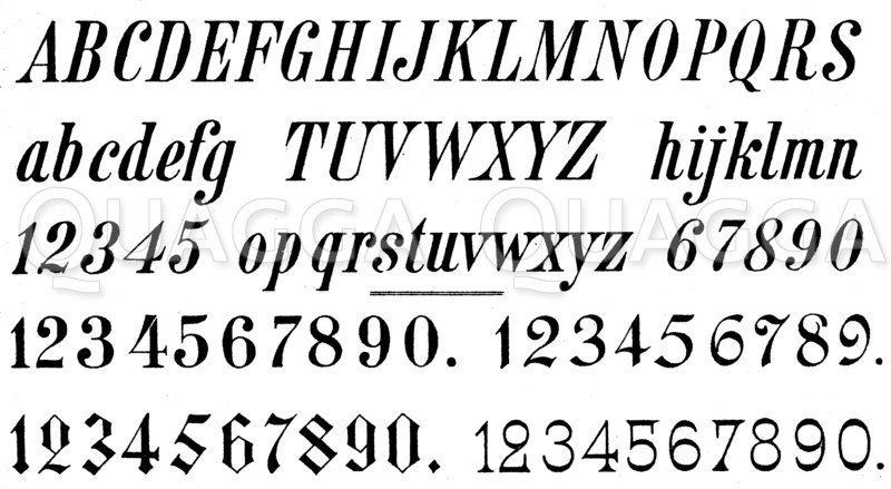 Alphabet: Kursivschrift Zeichnung/Illustration