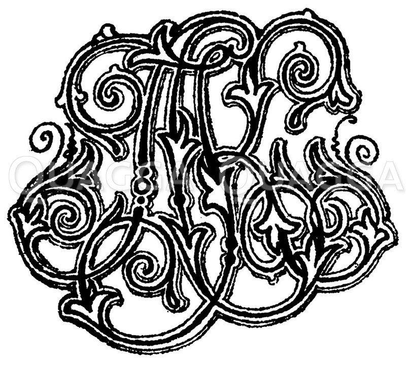 Monogramm AK Zeichnung/Illustration