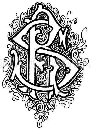 Monogramm SR Zeichnung/Illustration