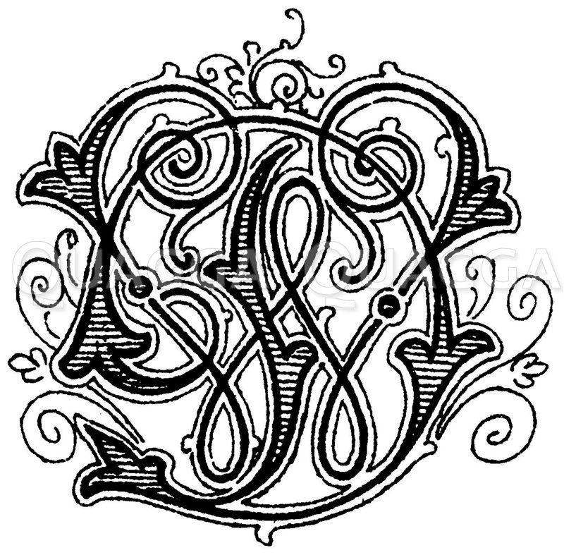 Monogramm WD Zeichnung/Illustration