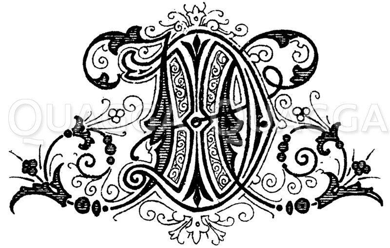 Monogramm IR Zeichnung/Illustration