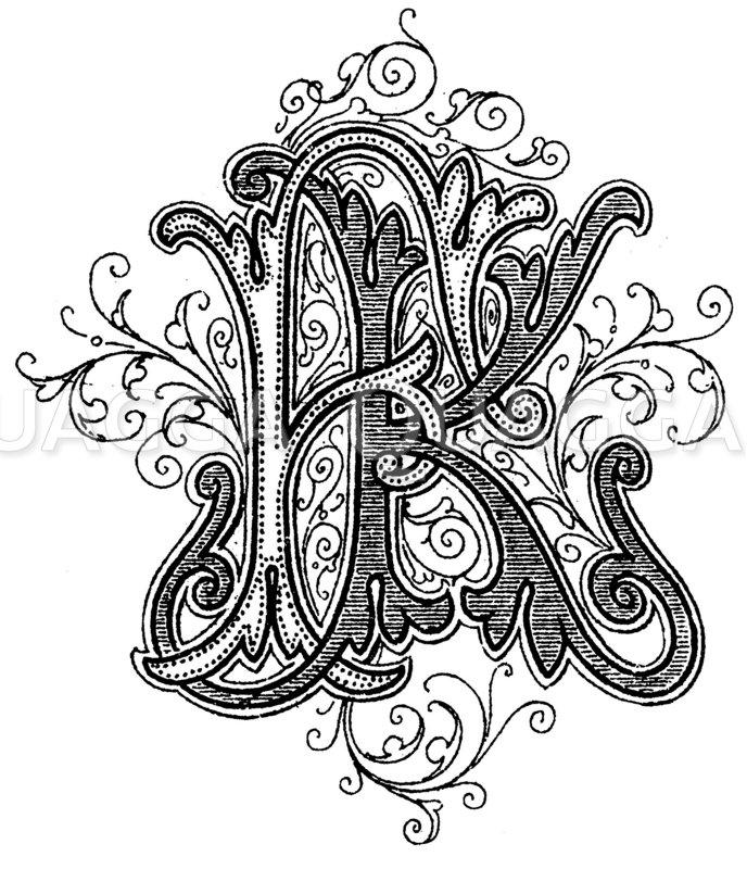 Monogramm FK Zeichnung/Illustration