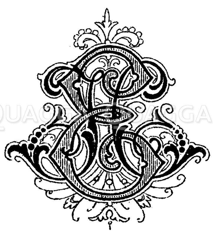 Monogramm HE Zeichnung/Illustration