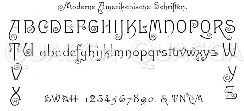 Alphabet und Ziffern: Amerikanische Schrift Zeichnung/Illustration