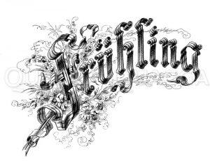 Schriftzug: Frühling Zeichnung/Illustration