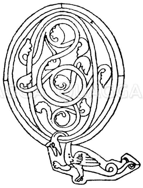 Romanische Schrift: Buchstabe Q. Initial aus dem 13. Jahrhundert. (Arnold & Knoll) Zeichnung/Illustration